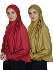 Combo Farashah Instant Hijabs With Sleeve In Red And Mustard