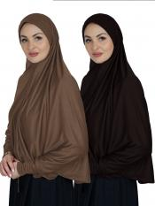Combo Farashah Instant Hijabs With Sleeve In Dark Brown And Coffee