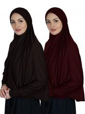 Combo Farashah Instant Hijabs With Sleeve In Coffee And Maroon