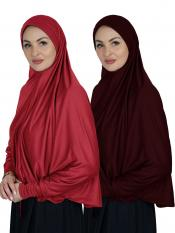 Combo Farashah Instant Hijabs With Sleeve In Red And Maroon