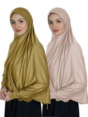 Combo Farashah Instant Hijabs With Sleeve In Mustard And Cream
