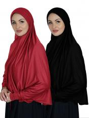 Combo Farashah Instant Hijabs With Sleeve In Red And Black
