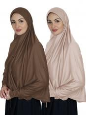 Combo Farashah Instant Hijabs With Sleeve In Dark Brown And Cream