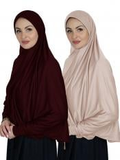 Combo Farashah Instant Hijabs With Sleeve In Maroon And Cream