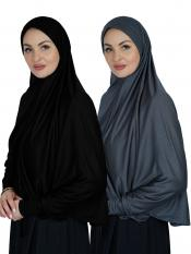 Combo Farashah Instant Hijabs With Sleeve In Black And Ash