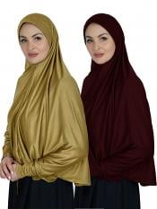 Combo Farashah Instant Hijabs With Sleeve In Mustard And Maroon