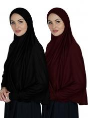 Combo Farashah Instant Hijabs With Sleeve In Black And Maroon
