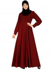 Nida Matte Umbrella Abaya With Potli Buttons Neck Design In Maroon