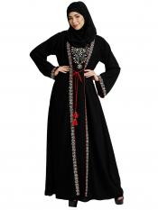 Nida Matte Layered Abaya With Embroidery Work On Front And Sleeves With Complementary Hijab In Black