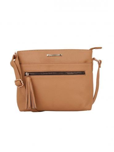 Front Zip Women Synthetic Sling Bag - Beige