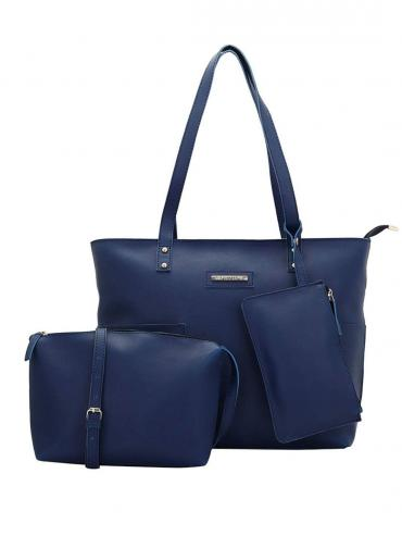 Synthetic Cutting  Women Tote - Blue