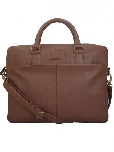 Synthetic Tuscan Unisex Laptop Bag - Tan