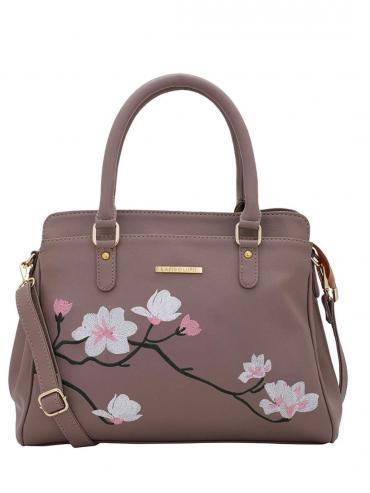 Synthetic Flower Embroidery Women Handbag -Peach