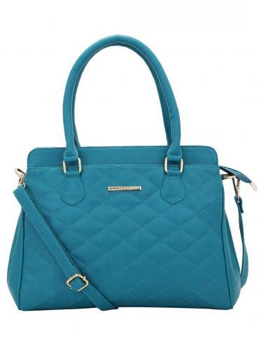 Synthetic Quilt Women Handbag -Turquoise