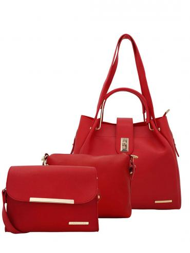 Women's Combo Synthetic Handbag, Sling Bag and Pouch - Red
