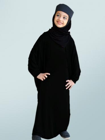 Little Mehariya Soft Knitted Icra Fabric Kids Abaya In Black