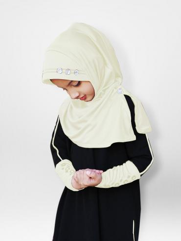 Little Riya Soft Knitted Icra Fabric Hijab In Cream