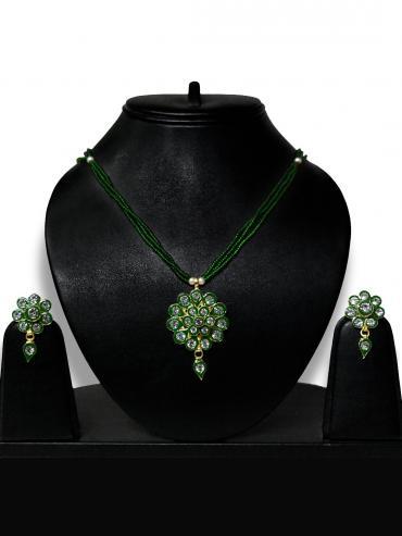 Awadhi Kundan Handmade High Quality Brass Golden Polish Pendant Set With Meenakari Work In Green