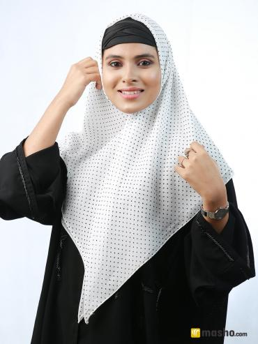 Polyster Stole With Dot Square Scaf Print In white