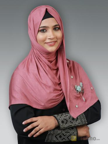 Soft Cotton Stole With Floral And Stone Work In Puce Pink