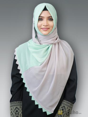 Polyster Double Shade Plain Stole In Ash And Pista