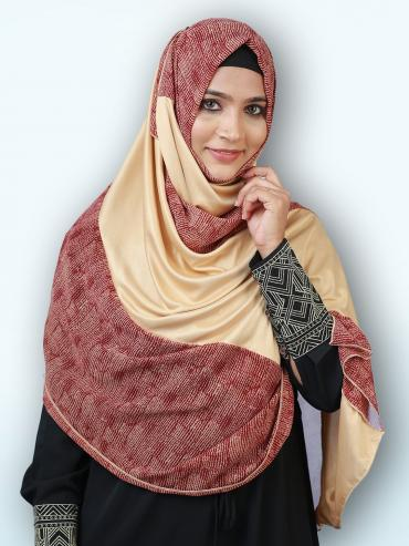 Soft Knitted Lycra Double Shade Stole In Multi And Beige