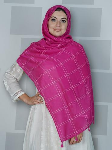 Premium Cotton Stole With Box Pattern And Tassel Work In Hot Pink