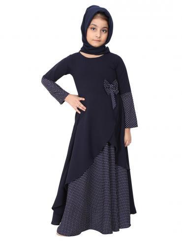Nidamatte Polka Dotted Asymmetrical Dress For Kids In Navy Blue