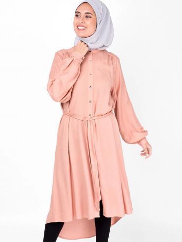 100% Rayon Balloon Sleeve Shirt Dress In Light Pink