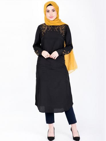 100% Polyester Midi Dress With Gold Beads In Black