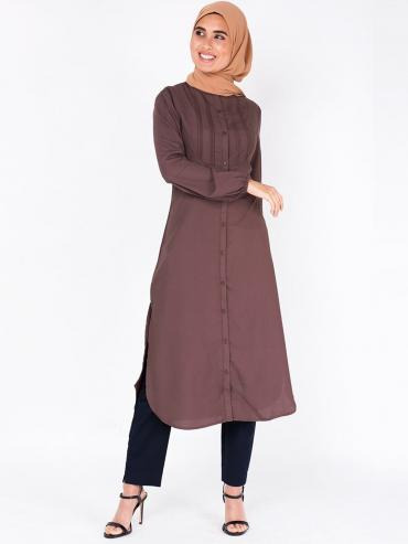 100% Polyster Shirt Dress With Pin Tuck In Deep Taupe