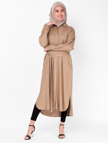 100% Rayon Shirt Dress In Light Brown