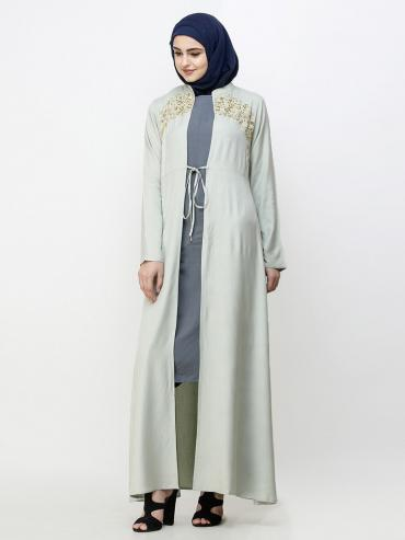 100% Viscose Outerwear With Gold Embroidered In Sea Fog