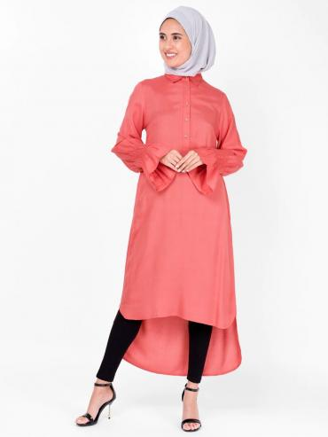 100% Rayon Midi Dress With Smocked Sleeve In Coral