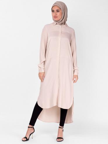 100% Polyster Sumo Satin Shirt Dress In Light Pink