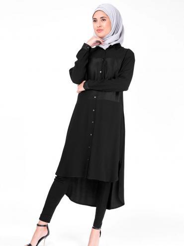 100% Polyster Sumo Satin Shirt Dress In Black