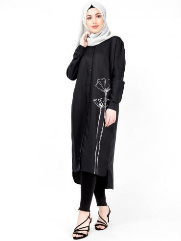 100% Viscose Floral Print Shirt Dress In Black