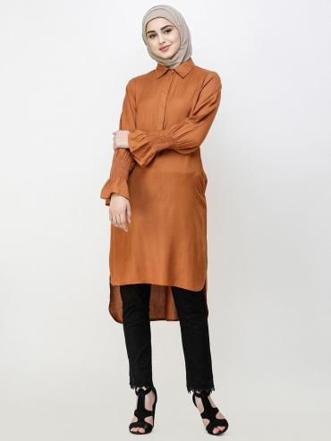 100% Viscose Midi Dress With Smoked Sleeve In Glazed Ginger
