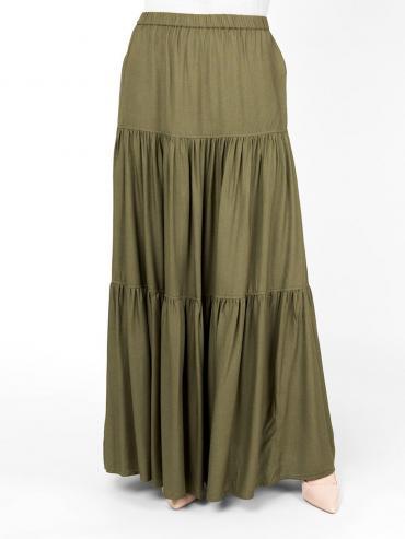 100% Rayon Boho Gypsy Full Length Skirt Martini Olive
