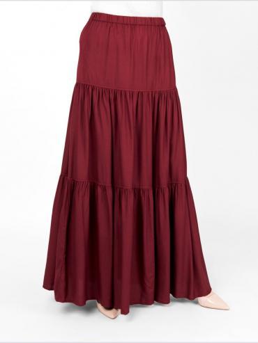 100 % Rayon Boho Gypsy Full Length Skirt In Red Peer