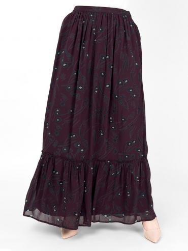 100% Viscose Floral Gathered Skirt In Plum