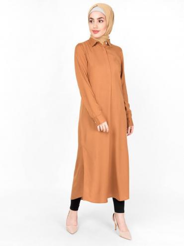 Rayon Shirt Midi In Brown