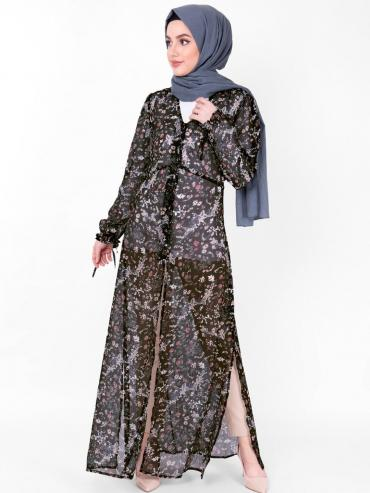 100% Georgette Outerwear With V Neck And Floral Sheer In Black