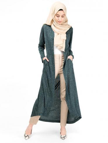 100% Textured Jersey Slub Full Front Open Outerwear In Green