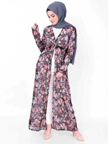 100% Poly Chiffon Floral Sheer Outerwear In Multicolour