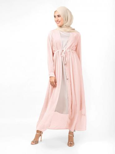 100% Polyester Outerwear With Waist Tie Up In Baby Pink