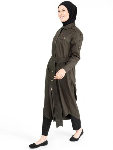 100% Cotton Epaulette Sleeves Curved Hem Midi In Dark Olive
