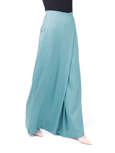 100% Rayon Overlap Wide Leg  Trouser In Smoke Blue