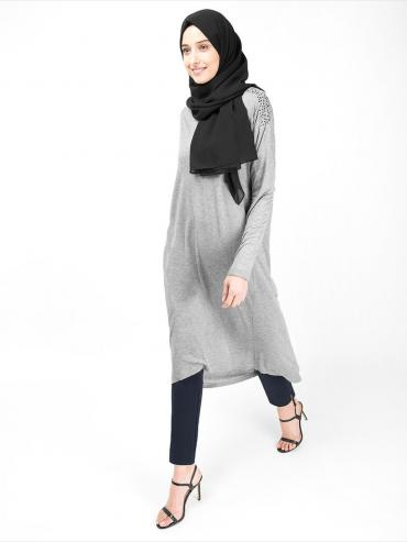 100% Viscose Studded Long Top In Grey