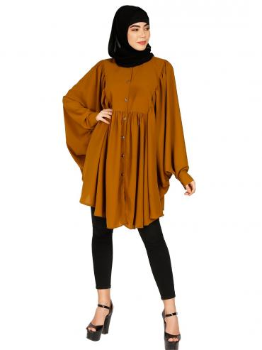 Nida Matte Short Kaftan With Full Sleeves In Mustard Brown